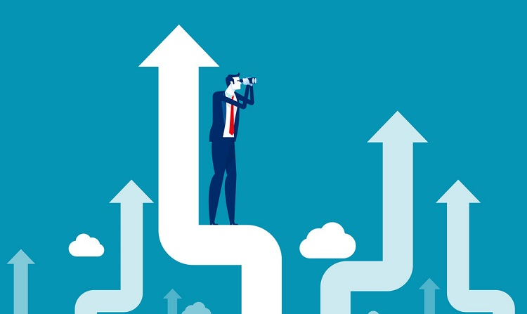 Investor standing on upward arrow. Looking through a telescope concept, Investment